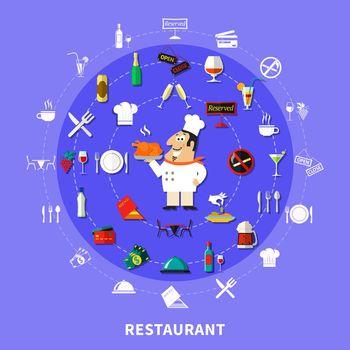 Restaurant Symbols Round Composition