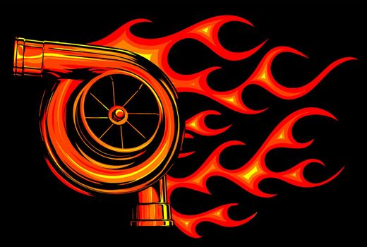 vector illustration Automotive turbo charger with fire