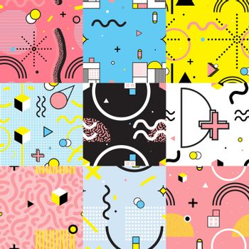 Seamless Patterns Set Memphis Style