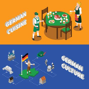 German Culture For Tourists Isometric Banners