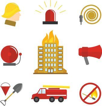 Firefighting icons flat