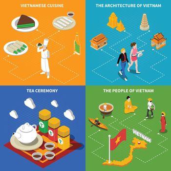 Vietnam Touristic 4 Isometric Icons Square