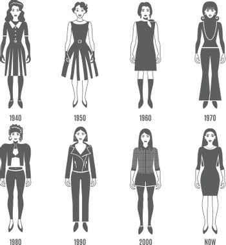 Fashion Evolution Black White Icons Set