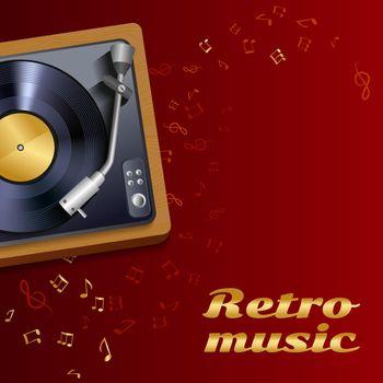 Vinyl record player poster