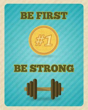Fitness strength exercise motivation poster