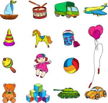 Toys Sketch Icons Set