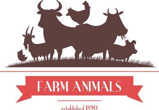 Farm Animals Label Or Signboard Design