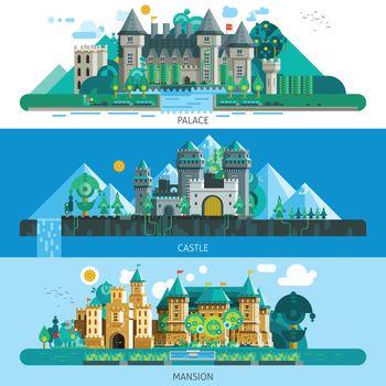 Antique Castles Horizontal Banners