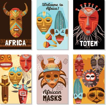 African Ethnic Tribal Masks Cards