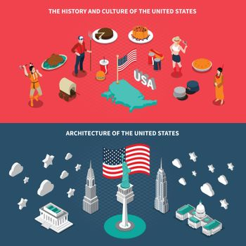 USA Touristic Attractions 2 Isometric Banners