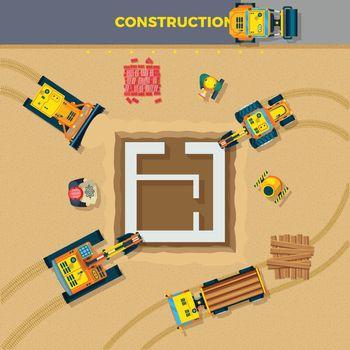 Construction Process Top View Illustration