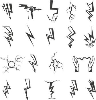 Lightning Monochrome Icons Set