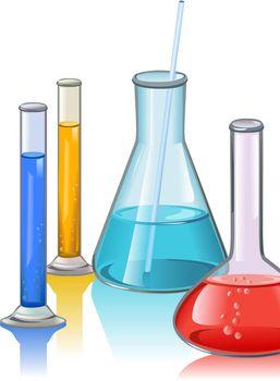 Colored laboratory flasks glassware template