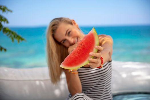 Pretty Woman with Watermelon