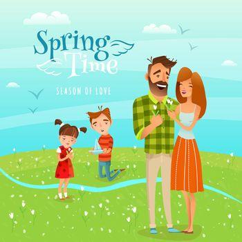 Family And Season Spring Illustration