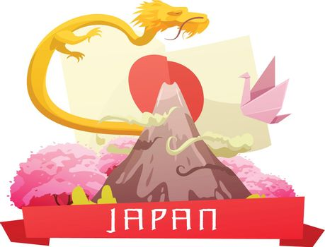 Japan Culture Retro Cartoon Composition Poster