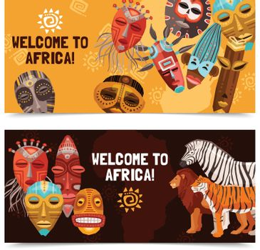 African Ethnic Tribal Masks Banners