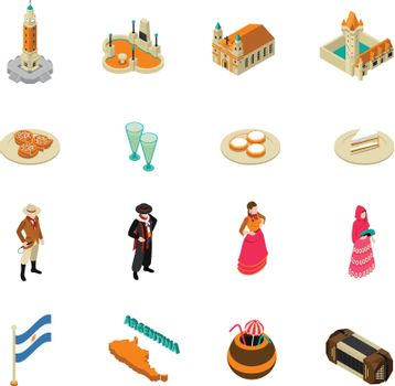 Argentine Touristic Isometric Symbols Icons Collection