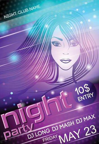 Night party sexy girl poster