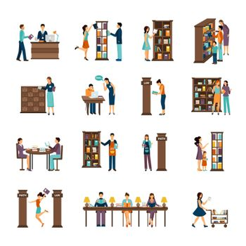 People In Library Icon Set