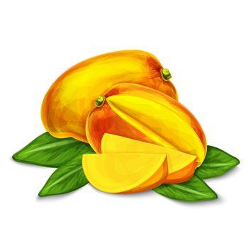 Mango isolated poster or emblem