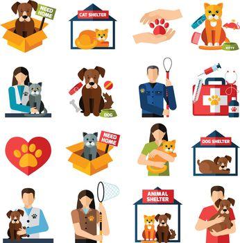 Animal shelter icons set