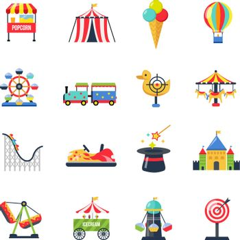 Flat Color Isolated Amusement Park Icons