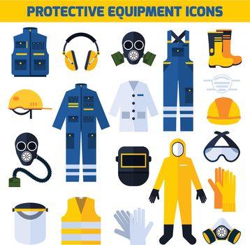 Protective Uniforms Equipment Flat Icons Set