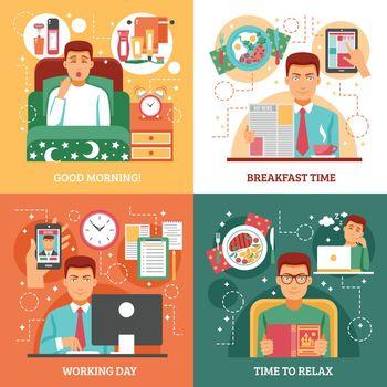 Man Daily Routine Design Concept