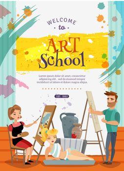 Visual Art School Classes Offer  Poster