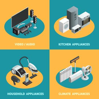 Household Appliances 4 Isometric Icons Square