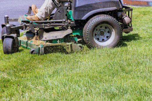 Machine for cutting lawns on lawn mower on green grass in garden.