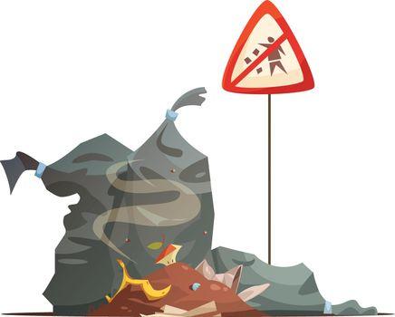 Warning Sign Garbage Disposal Cartoon Icon