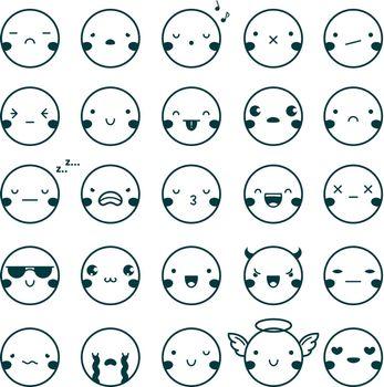 Emoji Emoticons Black Set