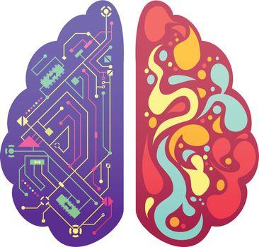 Right Left Brain Symbolic Colorful Image