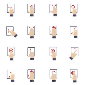 Hand Touching Screen Flat Icons