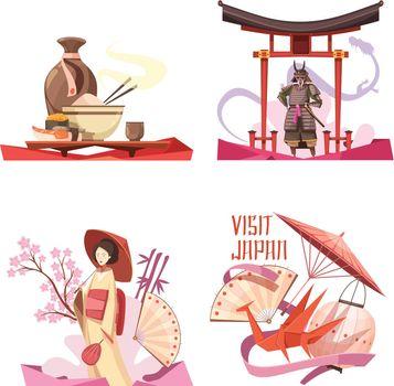 Visit Japan Retro Cartoon Compositions