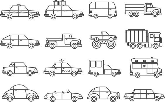 Cars Line Icons Set