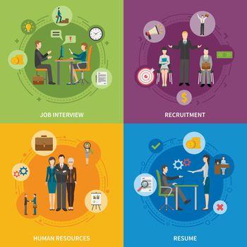 Recruitment HR People 2x2 Icons Set