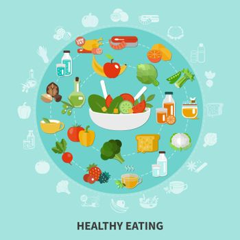 Healthy Eating Circle Composition