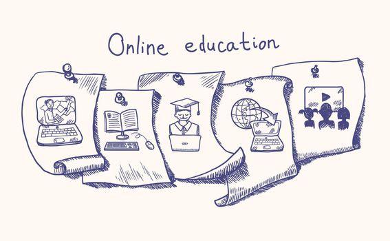 Online education sticker set
