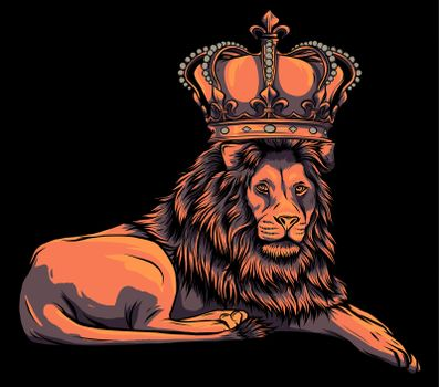 Royal lion with crown - animal king head with long mane vector