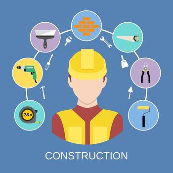 Engineer builder icons set