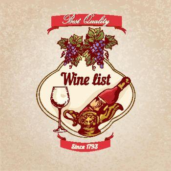 Wine list retro poster