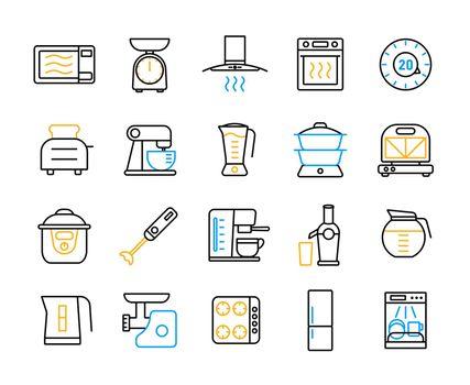 Kitchen appliances electronic equipment flat icon set
