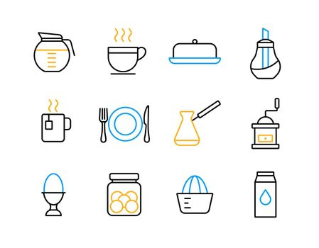 Breakfast and kitchen vector flat icon set