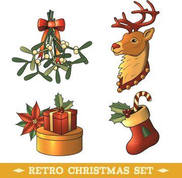 Christmas icons colored set