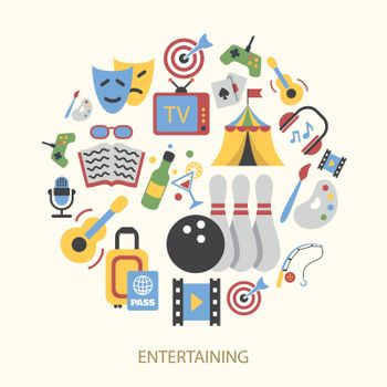 Entertainments icons set