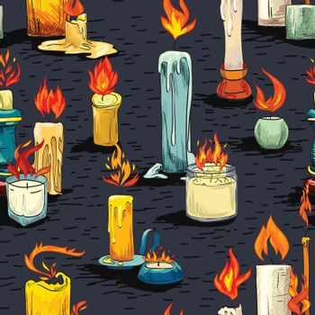 Candle sketch seamless pattern