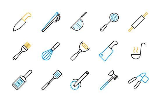 Kitchenware and kitchen vector flat icon set